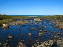 För suddigt grund flod siktslandskap för bakgrund som flödar över platån och flödar in i det Barents havet Royaltyfria Bilder