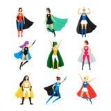 För Superherotecken för tecknad film kvinnlig uppsättning för symbol vektor stock illustrationer