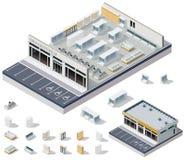 För supermarketinterior för vektor isometriskt DIY plan royaltyfri illustrationer
