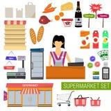 För supermarketlägenhet för vektor fastställda symboler Stock Illustrationer