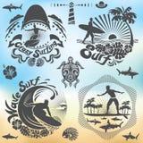 För surfare- och bränningferier vektor illustrationer