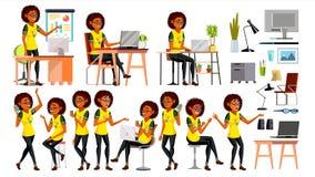 För svart kvinnatecken för affär afrikansk vektor I handling kontor IT Affär Företag Funktionsdugligt elegant amerikanskt modernt royaltyfri illustrationer