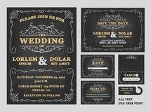 För svart tavlabröllop för tappning uppsättning för design för inbjudningar royaltyfri illustrationer