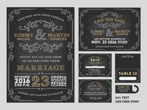 För svart tavlabröllop för tappning uppsättningar för design för inbjudningar stock illustrationer