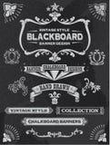 För svart tavladesign för tappning beståndsdelar royaltyfri illustrationer