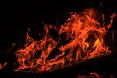 För svartbakgrund för röd brand brännskada för flammor Royaltyfria Foton