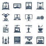 för svartkontur för printing 3D samling för symboler Royaltyfri Fotografi