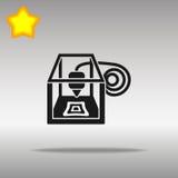 för svartsymbol för skrivare 3D symbol för logo för knapp Arkivfoton