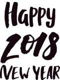 2018 för svarttext för lyckligt nytt år logo för illustration för design för feriekalendertryck nyfödd årlig partieller Christmas Royaltyfri Fotografi