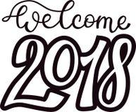 2018 för svarttext för lyckligt nytt år logo för illustration för design för feriekalendertryck nyfödd årlig partieller Christmas Arkivfoton