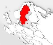för Sverige för abstrakt begrepp 3D Europa översikt nordlig kontinent stock illustrationer
