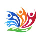 För swooshesteamwork för logo blommar det lyckliga folket logovektorn vektor illustrationer