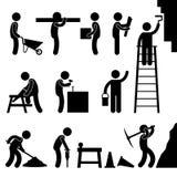 för symbolsarbete för konstruktion hård working för sym för pictogram stock illustrationer