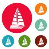För symbolscirkel för yacht modern vektor för uppsättning stock illustrationer