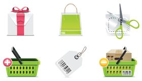 för symbolsdel för 3 element vektor för shopping set Royaltyfri Foto