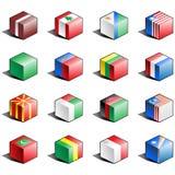 för symbolsdel för 7 flagga set stock illustrationer