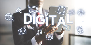 För symbolsdiagram för Digital teknologi begrepp Fotografering för Bildbyråer