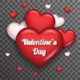 För symbolsGreating för hjärta vektor för design för realistisk 3d Valentine Day Symbol Transparent Background kort åtlöje för ma stock illustrationer