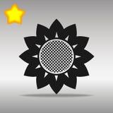 För symbolsknapp för blomma högkvalitativt svart begrepp för symbol för logo Arkivbild