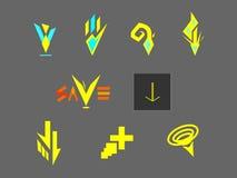 För symbolslogo för fristil främmande vektor för nedladdning för knapp Arkivfoto