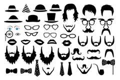 För symbolsparti för Hipster retro vektor för uppsättning stock illustrationer