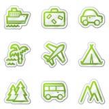 för symbolsserie för kontur grön rengöringsduk för lopp för etikett Fotografering för Bildbyråer