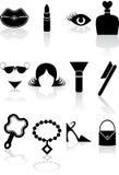 för symbolsserie för skönhet svart set Royaltyfria Bilder