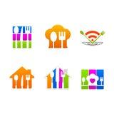 För symbolstecken för restaurang tjänste- logo för meny Arkivfoto