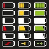 För symbolsuppsättning för batteri som plan illustration för vektor isoleras på grå bakgrund Royaltyfri Bild