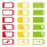 För symbolsuppsättning för batteri som plan illustration för vektor isoleras på vit bakgrund eps10 Royaltyfri Fotografi