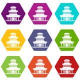 För symbolsuppsättning för buddistisk tempel hexahedron för färg stock illustrationer
