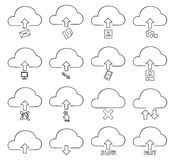För symbolsuppsättning för moln tunn linje konstillustration för vektor hand dragen stock illustrationer