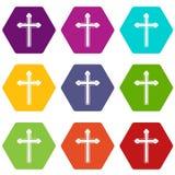 För symbolsuppsättning för helgedom arg hexahedron för färg royaltyfri illustrationer
