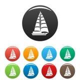 För symbolsuppsättning för yacht modern vektor för färg stock illustrationer