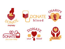 För symbolsvälgörenhet för volontär symboler för service för hjälpmedel för hopp för hand för medvetenhet för röd för donation up Royaltyfri Foto
