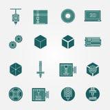 för symbolsvektor för tryck 3D uppsättning Arkivfoton