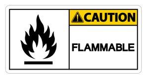 För symboltecken för varning brännbar isolat för isolat på vit bakgrund, vektorillustration vektor illustrationer