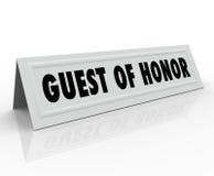 För tältkort för hedersgäst känt ställe för dignitär för välkomnande för högtalare Ho Royaltyfri Foto