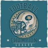 För t-skjorta för amerikansk fotboll design etikett Royaltyfria Bilder