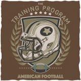 För t-skjorta för amerikansk fotboll design etikett Arkivbilder