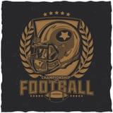 För t-skjorta för amerikansk fotboll design etikett Fotografering för Bildbyråer