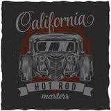 För t-skjorta för varm stång för tappning design etikett med illustrationen av den beställnings- hastighetsbilen Royaltyfri Fotografi