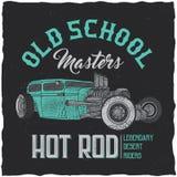 För t-skjorta för varm stång för tappning design etikett med illustrationen av den beställnings- hastighetsbilen Royaltyfria Foton