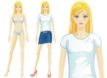 För t-skjorta för vektor (Caucasian) kvinnlig modell mode, Arkivfoto