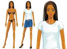 För t-skjorta för vektor kvinnlig modell mode (afrikanen) Arkivbilder