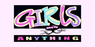 För t-skjorta för Hipster skraj tryck för motivation flickor i stads- grafitti stock illustrationer