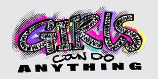 För t-skjorta för Hipster skraj tryck för motivation flickor i stads- grafitti vektor illustrationer