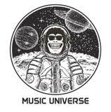 För t-skjorta för musikuniversumvektor modern mall design stock illustrationer