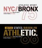 För t-skjorta för typografi NYC Bronx vektor diagram Arkivfoto
