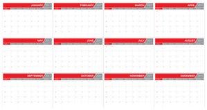 För tabellkalender för år 2017 mall för design för vektor Royaltyfria Foton